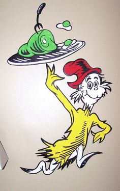 Handpainted  Sam I Am with Green Eggs & and Ham Dr Seuss Suess Hand Painted Painting Wallpaper Sticker Decal Decor Wall Art Mural Murals