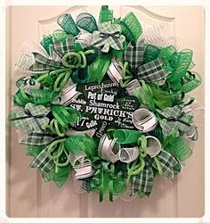 St Patrick's Day Deco Mesh Wreath/ St Patrick's Day Wreath/ Green Wreath/Shamrock Wreath