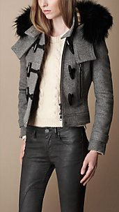 Burberry. Fur Trim Cropped Duffle Coat