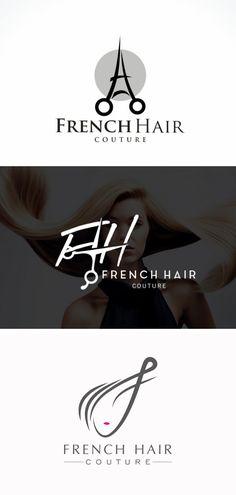 Création du logo French Hair Couture par Yanyuaryanyuar, Nayab et NEOXJ (. French Salon, French Hair, Custom Logo Design, Custom Logos, Graphic Design, Logo Inspiration, Hair Salon Logos, Barber Shop Decor, Couture