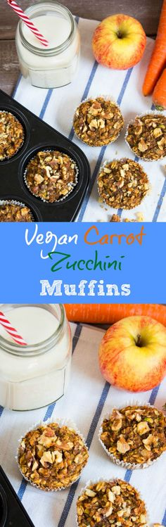 Vegan carrot zucchini muffins with apples and walnuts. Healthy, moist, sweet, and hearty at the same time! Find the recipe at veganheaven.org