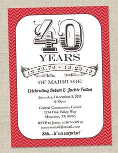 40th Anniversary Invitation -  Ruby Red Vintage Anniversary Party Invite - Fortieth (Printable Digital File). $14.00, via Etsy.