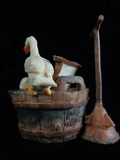 Vintage Wash Tub Lowell Davis Ducks GOOD CLEAN FUN Early Rare Pc ~ FREE SHIPPING