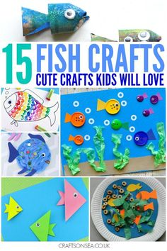 Easy and fun fish crafts for kids that look fantastic too! Perfect for learning about under the sea or making ocean crafts. Button fish, origami and more.
