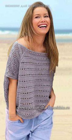 Модный пуловер для женщин вязание спицами 2018