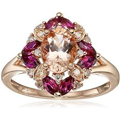 10k Pink Gold Morganite, Rhodolite and Diamond Cushion Ring (1/10cttw, I-J Color, I2-I3 Clarity), Size 6