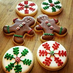 Gingerbread Men and Peppermint TwistscDecorated Christmas Cookies for Beginning Decorators. Christmas iced biscuits.