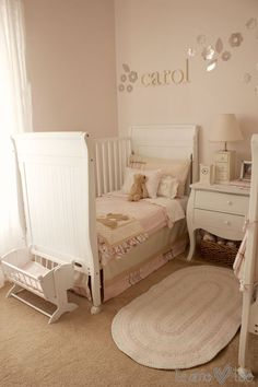 Shared Girls Nursery/Toddler Room - love the soft pinks in this sweet room!
