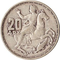 1960 Greece 20 Drachmai Silver Coin Selene Moon Goddess on Horse