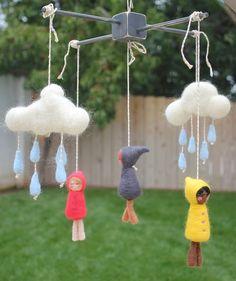 Maßgeschneiderte Handarbeit Nadel Filz Rainclouds und Playmates Mobile