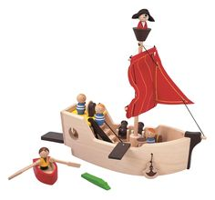Ahoy there matey, walk thee plank!  Pirate play sets are so much fun.  It's no wonder that they're still one of the most successful birthday or holiday gifts.  There's a lot to spark the imagination with this all-natural wooden pirate set.  It comes with everything need to create a swashbuckling adventure, including a wooden plank, miniature pirate dolls, sea animals, and more.