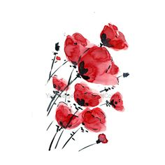 Poppies field on a windy day, print of water color, Poppies art,... (€19) ❤ liked on Polyvore featuring home, home decor, wall art, flowers, fillers, backgrounds, art, decor, effect and red flower painting