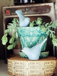 Such incredible color in this pot and the little bird, I must do this. The wonderful and troublesome thing is, you see: I'm a dealer at my local Brass Armadillo, so I walk past lovely things like this a couple of times a week. I know right where to go for the perfect items to create enchanting vignettes.    My dream home must be filled with vintage beauty.