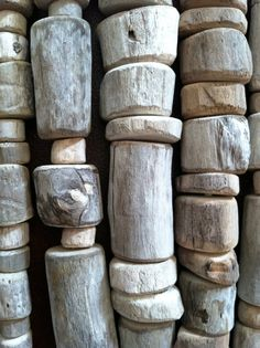 Rustic driftwood beads for making mobiles, garlands or windchimes