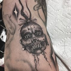 Shrunken head by Christopher Jade (@ xcjxtattooer) #xcjxtattooer #tattoo #tattoos #tattooing #ink #blackwork #Oakland #Australia #Melbourne #losangeles #cvltnation #darkartists #portland #witch #txttooing #haunting #shrunkenhead #voodoo #witchcraft #blackclaw #occult #onlythedarkest #death #blackworkerssubmission #tttism #musink