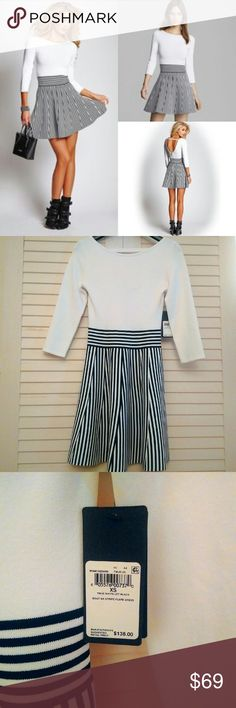 NWT GUESS Boat Neck Striped Flare Open Back Dress Adorable! Perfect for in-between seasons. I think it's very well made - not flimsy at all. Top has a bodycon feel. Love the open back! Guess Dresses Midi