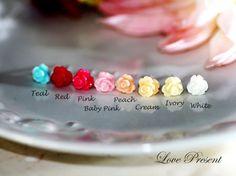 Cutie Sweet Teeny Tiny Rose Cartilage Stud by LoLoJewelryBox Cute Cartilage Earrings, Cartilage Stud, Stud Earrings, Tragus, Upper Ear Piercing, Ear Piercings, Peircings, Tassel Jewelry, Scarf Jewelry
