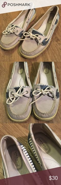 White & Blue Seersucker Sperry Topsiders Worn for a summer back in my high schools days and have been living in my closet ever since. Not at all my style now, but who doesn't love a good pair of boat shoes. Minor signs of wear (pictured) but otherwise in good condition. All of this is reflected in the low price. Sperry Top-Sider Shoes Flats & Loafers