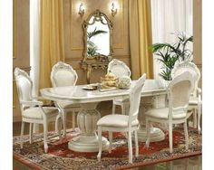 Ivory Italian Classic Dining Table & Chairs. I love this