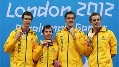 (L-R) Gold medallists Andrew pasterfield, Matthew Levy, Blake Cochrane and Matthew Cowdrey of Australia pose on the podium during the medal ceremony for the Men's 4x100m Freestyle Relay - 34pts final on Day 4 of the London 2012 Paralympic Games at Aquatics Centre