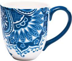 KARE Design Tasse Jumbo Blaue Stunde Blau Weiß Blumenmuster NEU