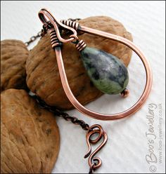 Green jade and antiqued copper teardrop pendant by Boo