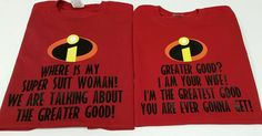 His and Hers Matching Couples Disney World Vacation Tshirts inspired by the Incredibles! Where is my super suit! by OnceUponATeeShop on Etsy https://www.etsy.com/listing/188640842/his-and-hers-matching-couples-disney