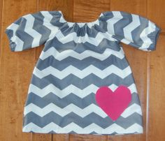 Toddler/ Child Chevron Pink Heart Peasant by theruffleproject, $42.00