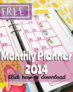 FREE Monthly Planner 2014 // http://limetreefruits.com/free-monthly-planner/
