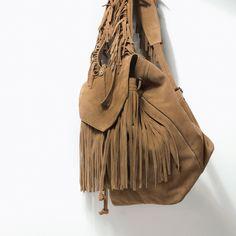 Zara Suede Fringed Backpack in Beige (Leather) | Lyst