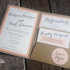 Pastel Pink Wedding Invitation Set by Misiu