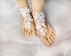white barefoot sandals, wedding lace sandals, bridal sandals, bridesmaid sandals, wedding accessories, bridal accessories, wedding day gift