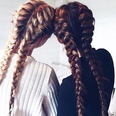 Best friends that stay together, slay together. Loving these bestie braids!! #friendshipgoals #bff #frenchbraids