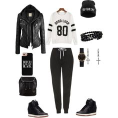 Casual but Edgy by Deranged Diva. A fashion look from February 2015 featuring Topshop activewear pants, NIKE sneakers and STELLA McCARTNEY backpacks. Browse and shop related looks.