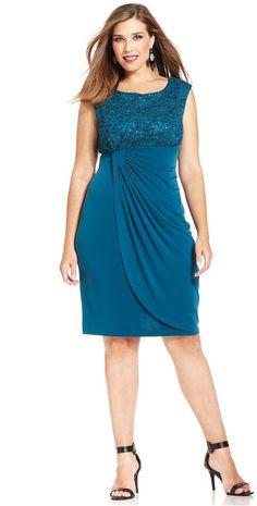 Connected Plus Size Sequin Lace Faux-Wrap Dress