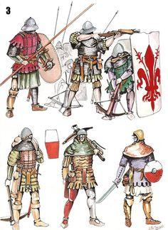 Italy, the first half of the XV century, city militias Medieval Knight, Medieval Armor, Medieval Fantasy, Armadura Medieval, Landsknecht, Knight Armor, Fantasy Armor, Historical Art, Dark Ages
