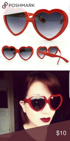 Red heart sunglasses New Brand new plastic red heart sunglasses in red. Never worn Accessories Sunglasses