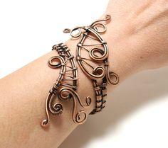Copper Bracelet Women, Wire Wrapped Bracelet, Boho Copper Bracelet, Arthritis Bracelet, Copper Rustic Cuff, Anniversary Gift, Boho Jewelry by BeyhanAkman on Etsy