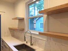Red oak floating kitchen shelves. 4' and 2' lengths.
