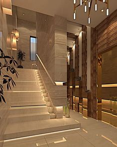 Interesting Staircase Designs Ideas ~ 70 Interesting Staircase Designs Ideas ~ Space Golden Geometry Custom Wallpaper – Warm White, Flexible LED Rope with 450 Units 2835 LEDs Original Modern Heavy Texture Carved Sculpture Floral Gold Home Stairs Design, Foyer Design, Lobby Design, Design Your Home, Classic House Design, Modern House Design, Stairs Architecture, Architecture Design, Stairway Railing Ideas