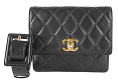 Chanel Vintage Black Quilted Lambskin Mini Fanny Pack