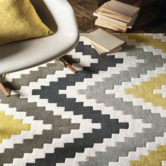 Romo Scala Quince Rug A large scale, contemporary chevron design with a rich, deep pile and soft texture. Romo Fabrics, Carpets Online, Hand Tufted Rugs, Carpet Stairs, Room Set, Carpet Runner, Home Furnishings, Area Rugs, Pure Products
