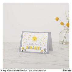 Shop A Ray of Sunshine Baby Shower Thank You Card created by Anietillustration. Custom Thank You Cards, Baby Shower Thank You Cards, Sunshine Baby Showers, You Are My Sunshine, Gender Neutral, Your Cards, Place Card Holders, Birthday, Shower Ideas