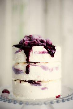 lemon ice cream cake with raspberry ripple.