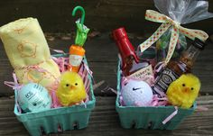 Adult Easter Baskets - lip balm, hankie and candy for her, and nips and golf ball for him