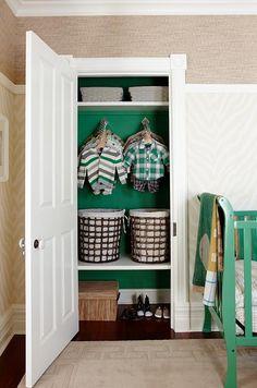 Like the painted closet sarah richardson sarah 101 nursery green natural Sarah Richardson, Sarah 101, Painted Closet, Boys Closet, Entry Closet, Closet Wall, Closet Colors, Natural Nursery, Ideas Para Organizar