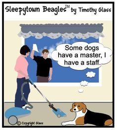 This weekly cartoon series features beagles but most of the themes hold true for all breeds of dogs.  :)