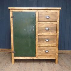 Wooden cabinet larder with painted green metal door.  This lovely wooden cabinet is the perfect storage solution for anywhere in the home, but we think it would lend itself particularly well to use as a kitchen larder or office stationary cupboard.  Fitted with four good sized drawers, an internal shelf and a painted metal door.  #cheshire #reclamation #salvage #antiques #collectables #vintage #retro #home #garden #design #interiordesign #furniture #antique #design #reclaimed #rustic…