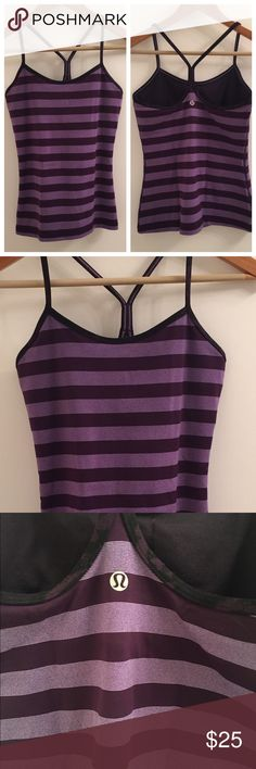 Lululemon Purple Striped Top Lululemon Purple Striped Top, size 6. No trades, no PayPal, price firm. In great condition! lululemon athletica Tops Tank Tops