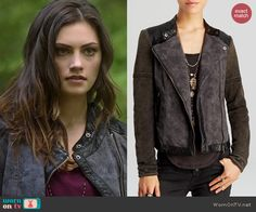 Hayley's printed leather trim jacket on The Originals.  Outfit Details: http://wornontv.net/40140/ #TheOriginals